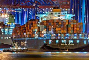 cargo ship in hamburg germany