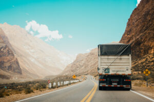 Picture of truck travelling up a mountain.