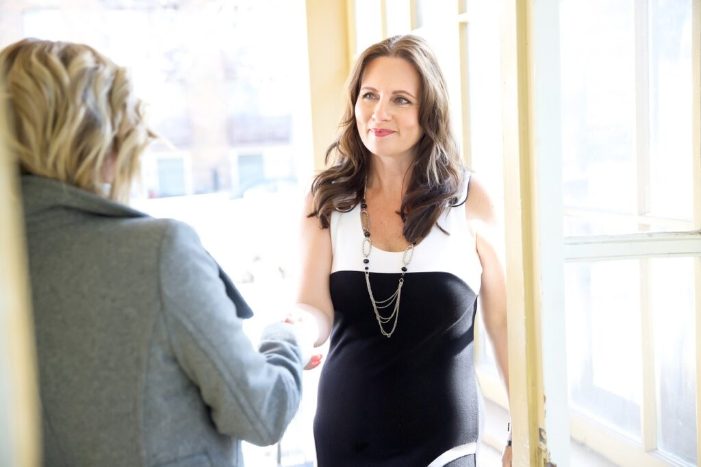 woman at her first meeting with a family law attorney