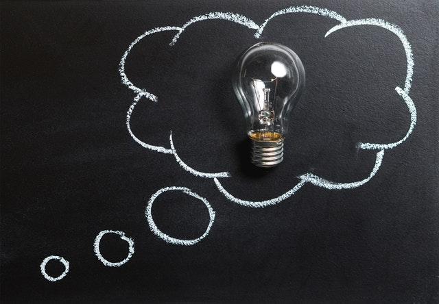 blackboard with idea bubble