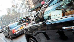 Uber car in traffic