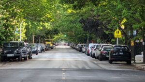 cars parked on both sides of long tree-lined city street
